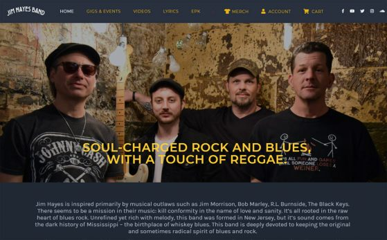 Jim Hayes Band - Website Screenshot